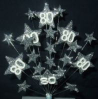 Star age 80th birthday cake topper decoration all in silver - free postage